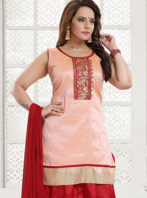 Salwar Kameez Embroidered Malbari Silk  in Peach