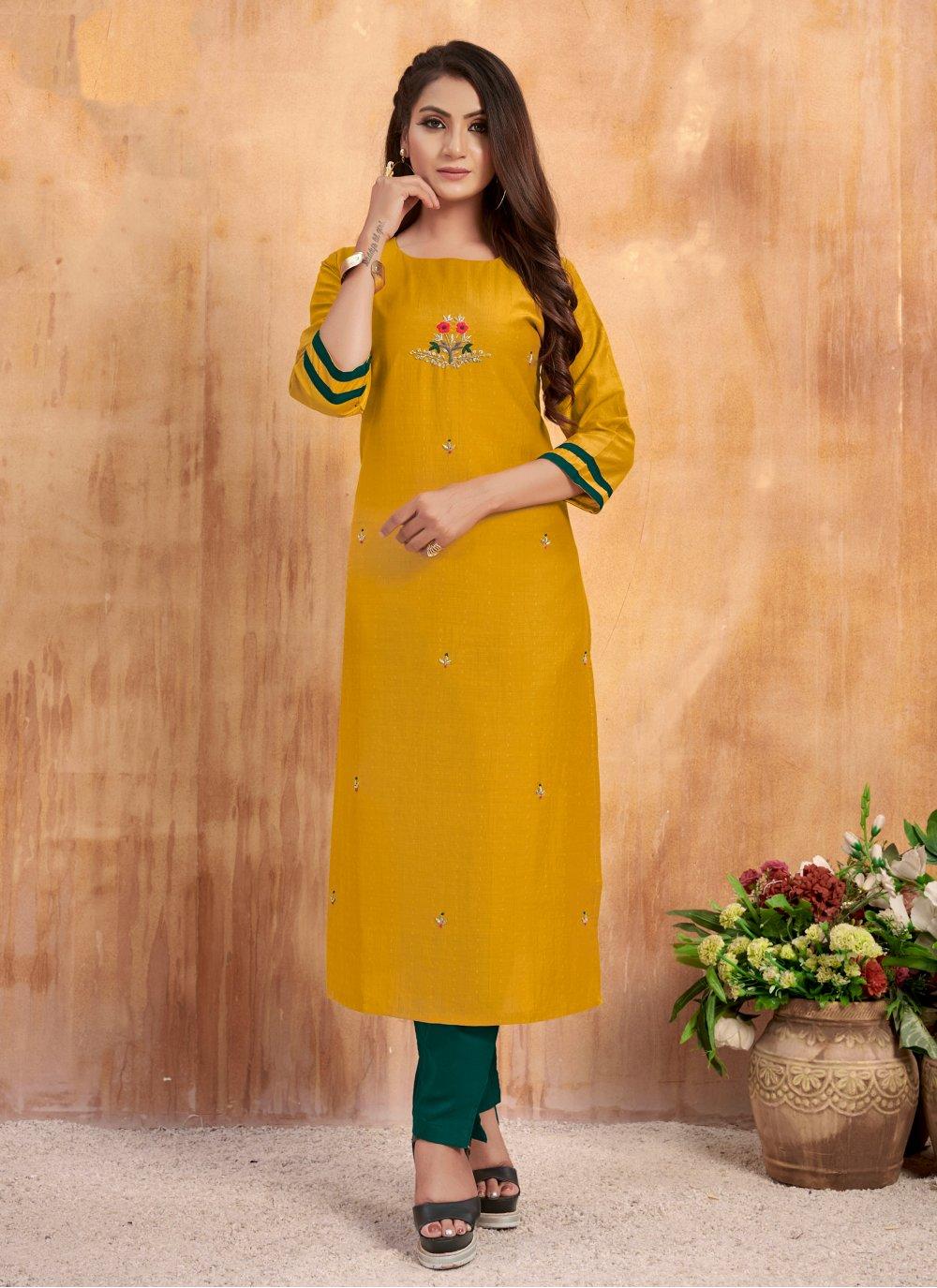 Salwar Kameez Embroidered Muslin in Mustard