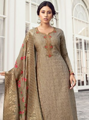Salwar Kameez Embroidered Satin Silk in Grey