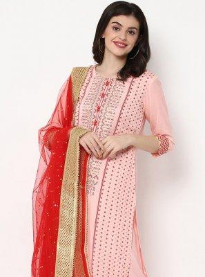 Salwar Kameez Print Rayon in Pink