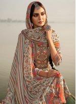 Salwar Kameez Printed Pashmina in Grey