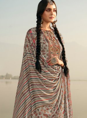 Salwar Kameez Printed Pashmina in Grey
