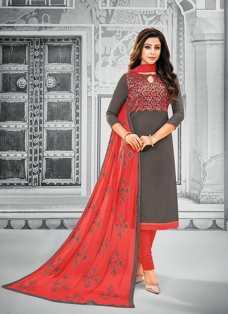 Salwar Kameez Resham Cotton in Grey