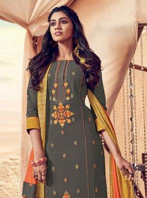 Salwar Kameez Resham Polly Cotton in Grey