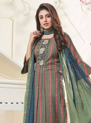 Salwar Kameez Resham Polly Cotton in Multi Colour