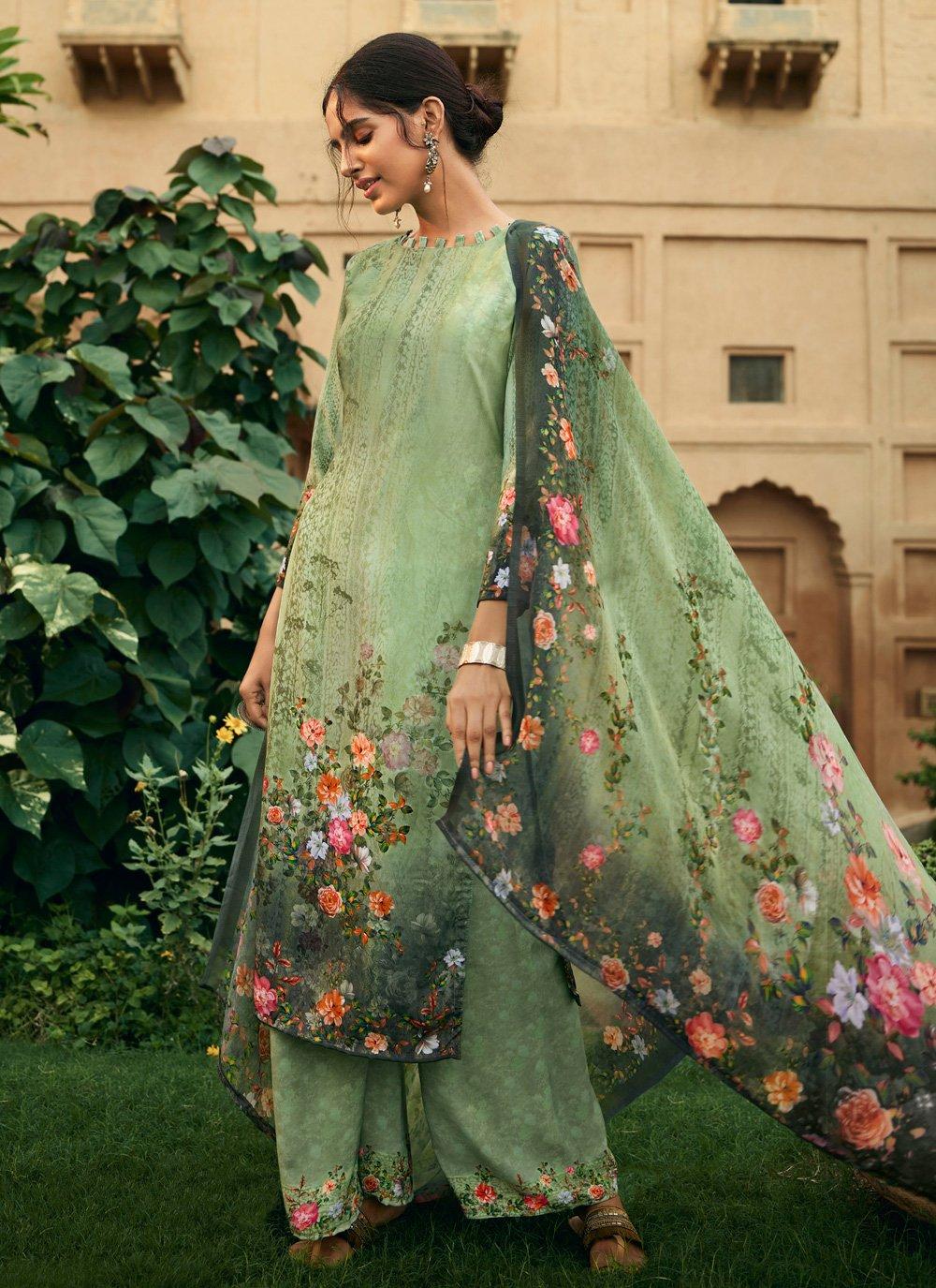 Salwar Suit Digital Print Faux Crepe in Green