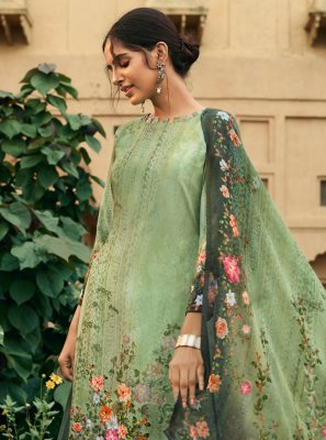 Salwar Suit Digital Print Faux Crepe in Green