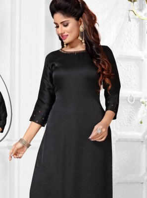 Salwar Suit Embroidered Art Silk in Black