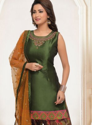 Salwar Suit Embroidered Art Silk in Green