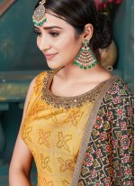 Salwar Suit Embroidered Art Silk in Yellow
