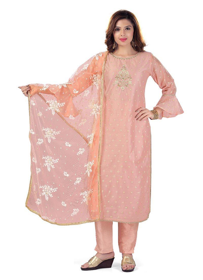 Salwar Suit Embroidered Chanderi in Peach