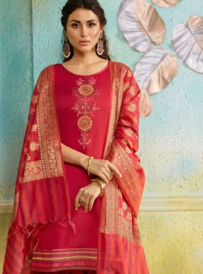Salwar Suit Embroidered Chanderi in Pink