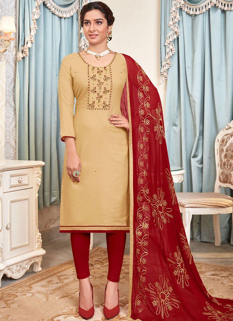 Salwar Suit Embroidered Cotton in Beige