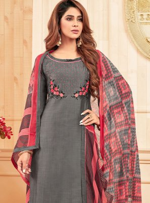 Salwar Suit Embroidered Cotton in Grey