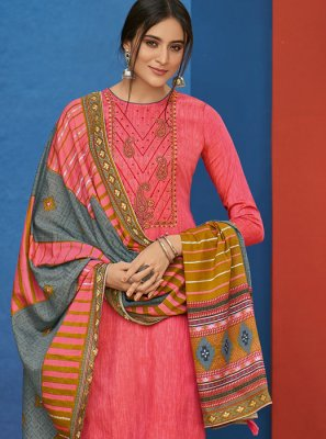 Salwar Suit Embroidered Cotton in Pink