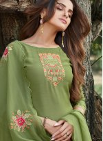 Salwar Suit Embroidered Cotton Silk in Green