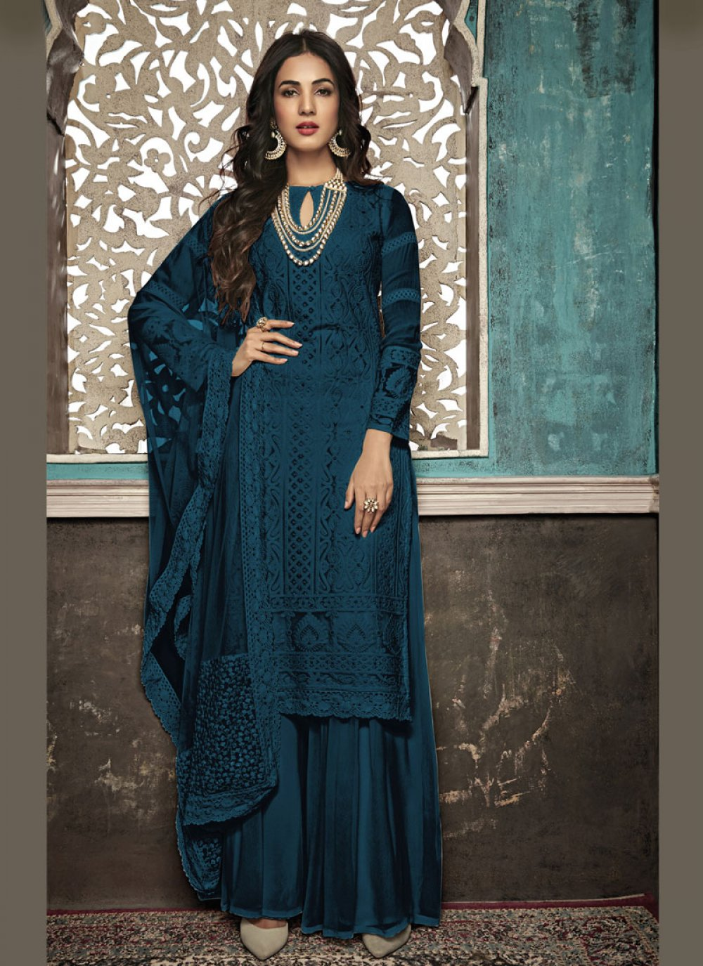 Salwar Suit Embroidered Faux Georgette in Navy Blue