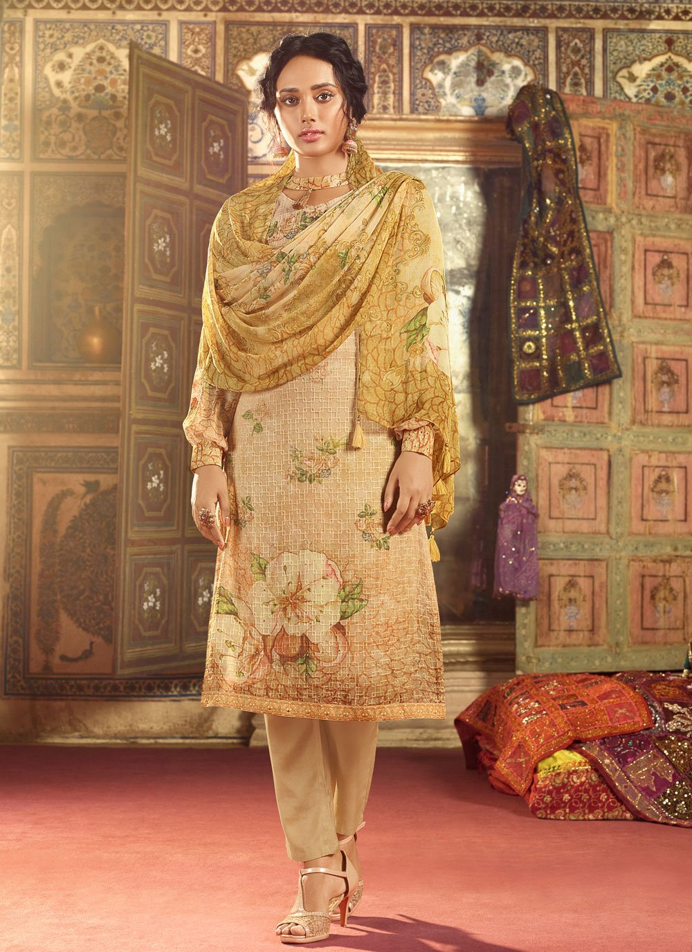 Salwar Suit Embroidered Georgette in Cream