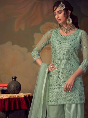 Salwar Suit Embroidered Net in Green