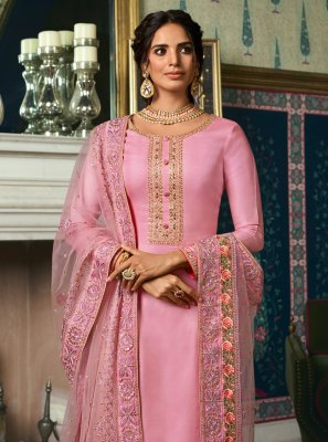 Salwar Suit Embroidered Tussar Silk in Pink