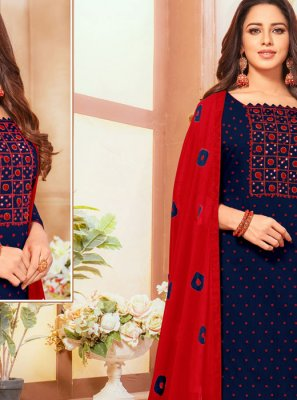 Salwar Suit Mirror Cotton in Navy Blue