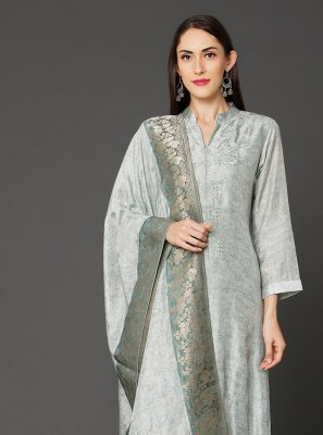 Salwar Suit Plain Maslin Silk in Grey