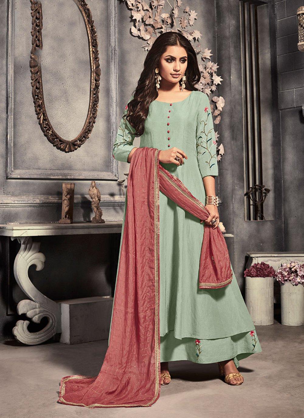 Salwar Suit Plain Silk in Green