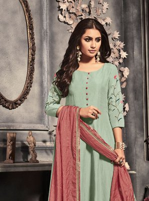 Salwar Suit Plain Silk in Green