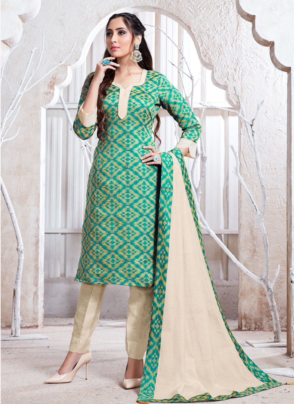 Salwar Suit Weaving Cotton Silk in Sea Green