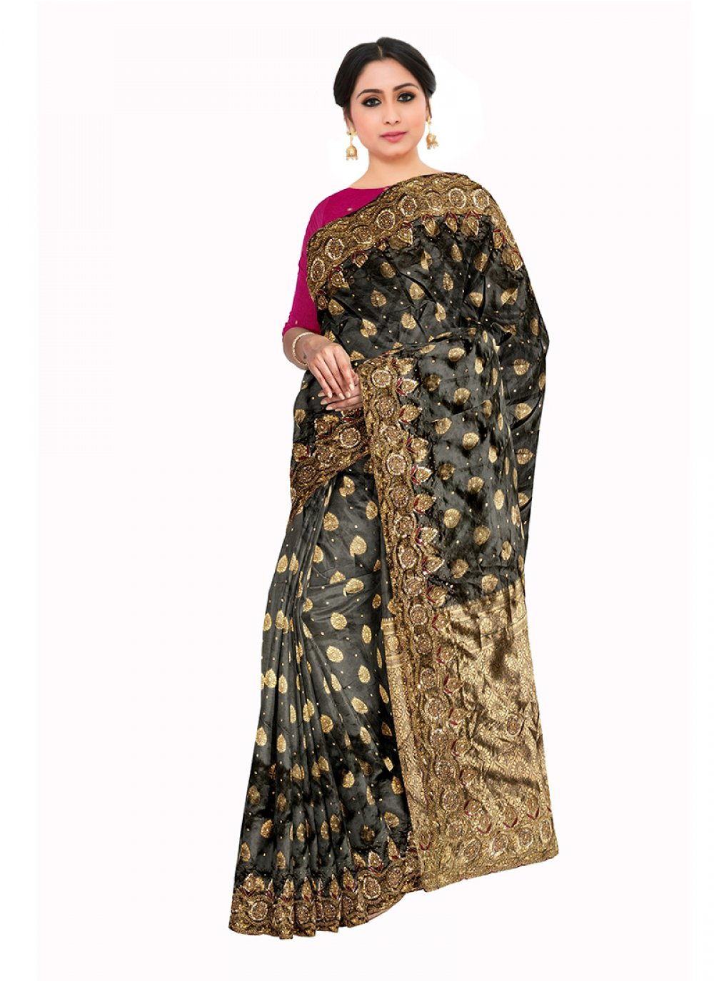 Saree Embroidered Art Silk in Grey