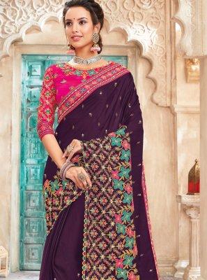 Saree Embroidered Art Silk in Purple