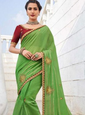 Saree Embroidered Fancy Fabric in Green