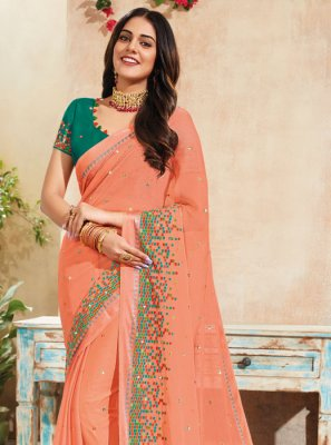 Saree Embroidered Faux Chiffon in Peach