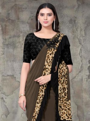 Saree Embroidered Lycra in Brown