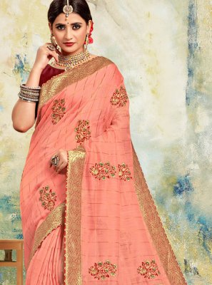 Saree Embroidered Poly Silk in Pink