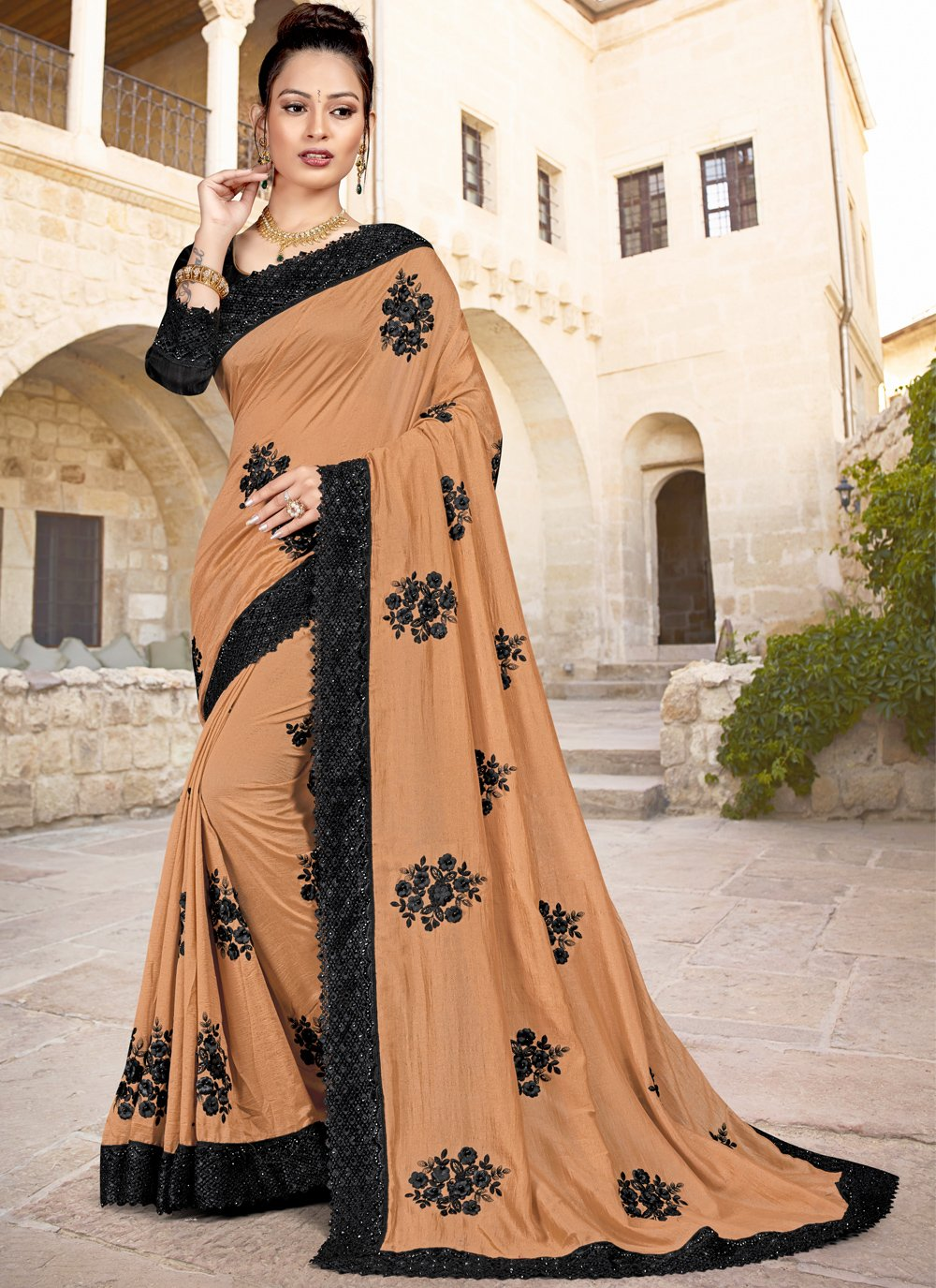 Saree Embroidered Silk in Brown