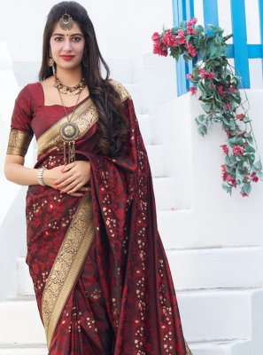 Saree Embroidered Silk in Red