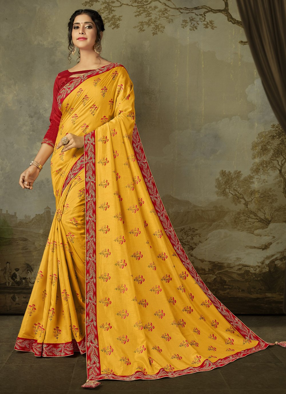 Saree Embroidered Silk in Yellow