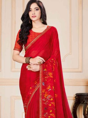 Saree Floral Print Georgette in Red