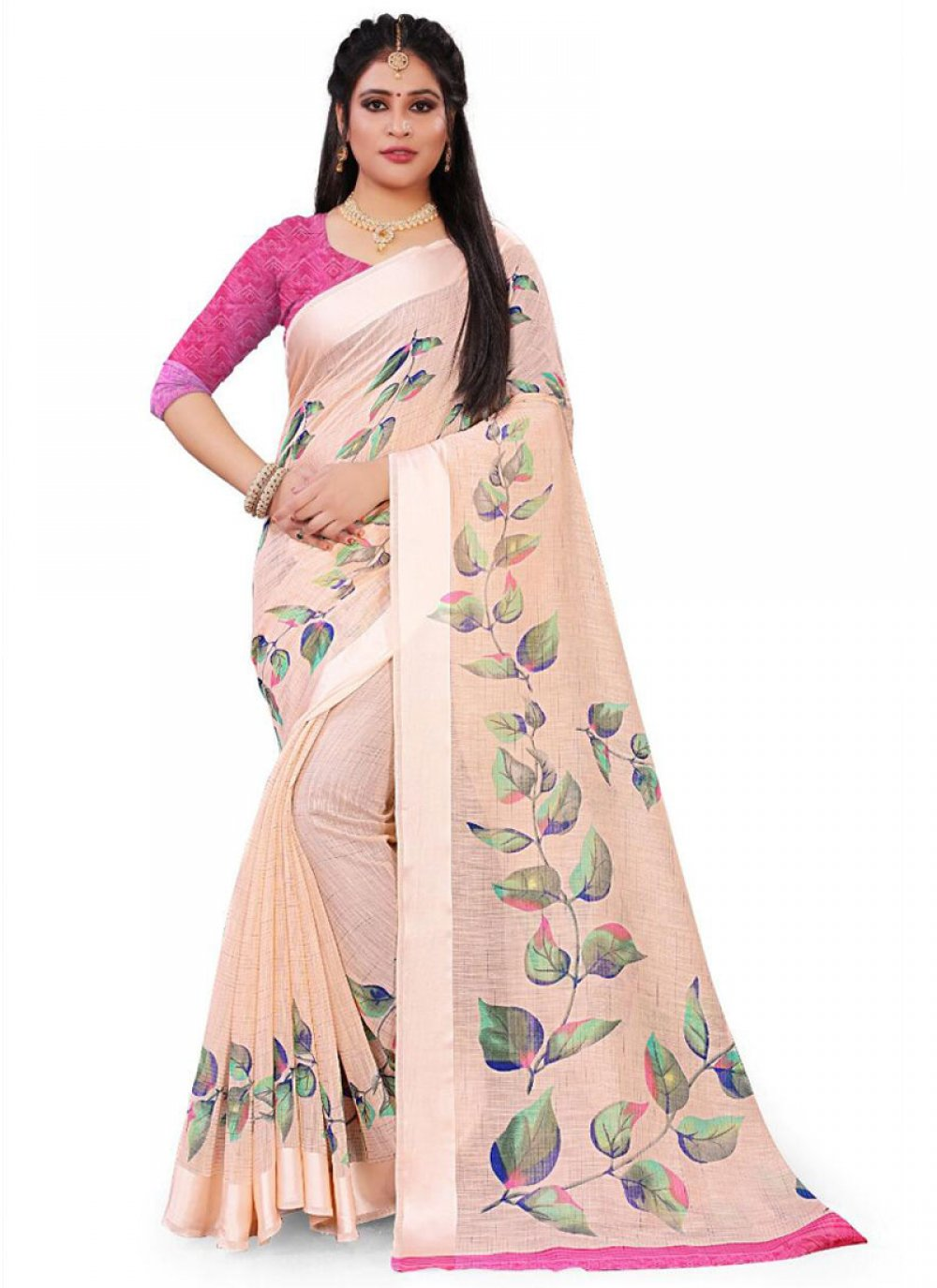 Saree Floral Print Linen in Pink
