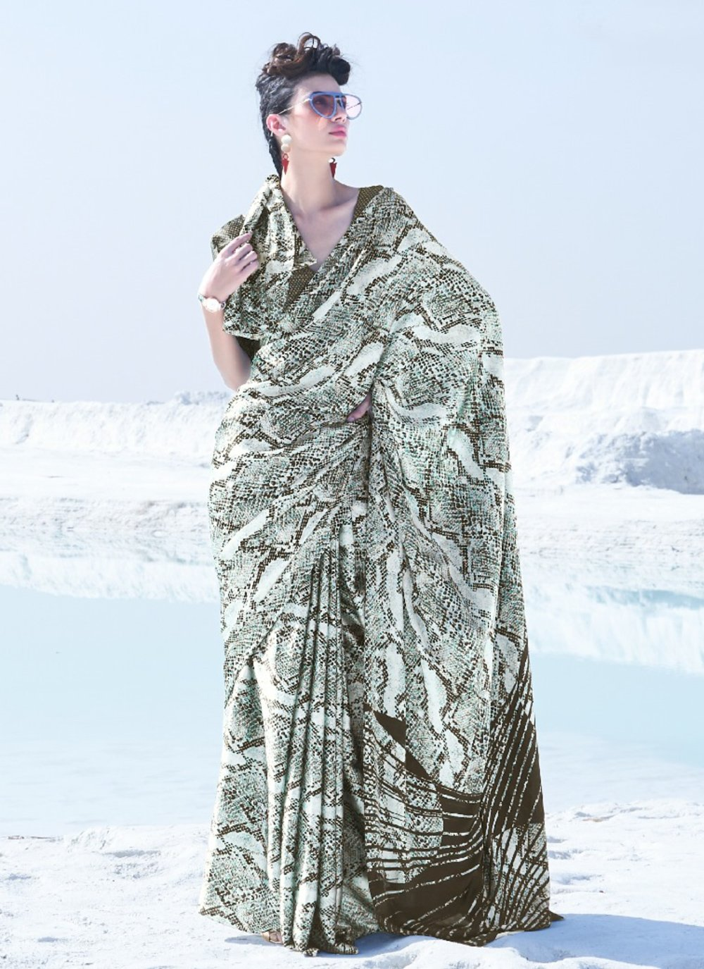 Saree Printed Crepe Silk in Multi Colour