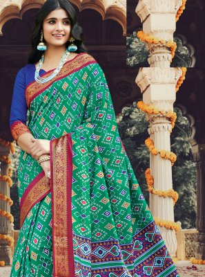 Saree Printed Silk in Multi Colour