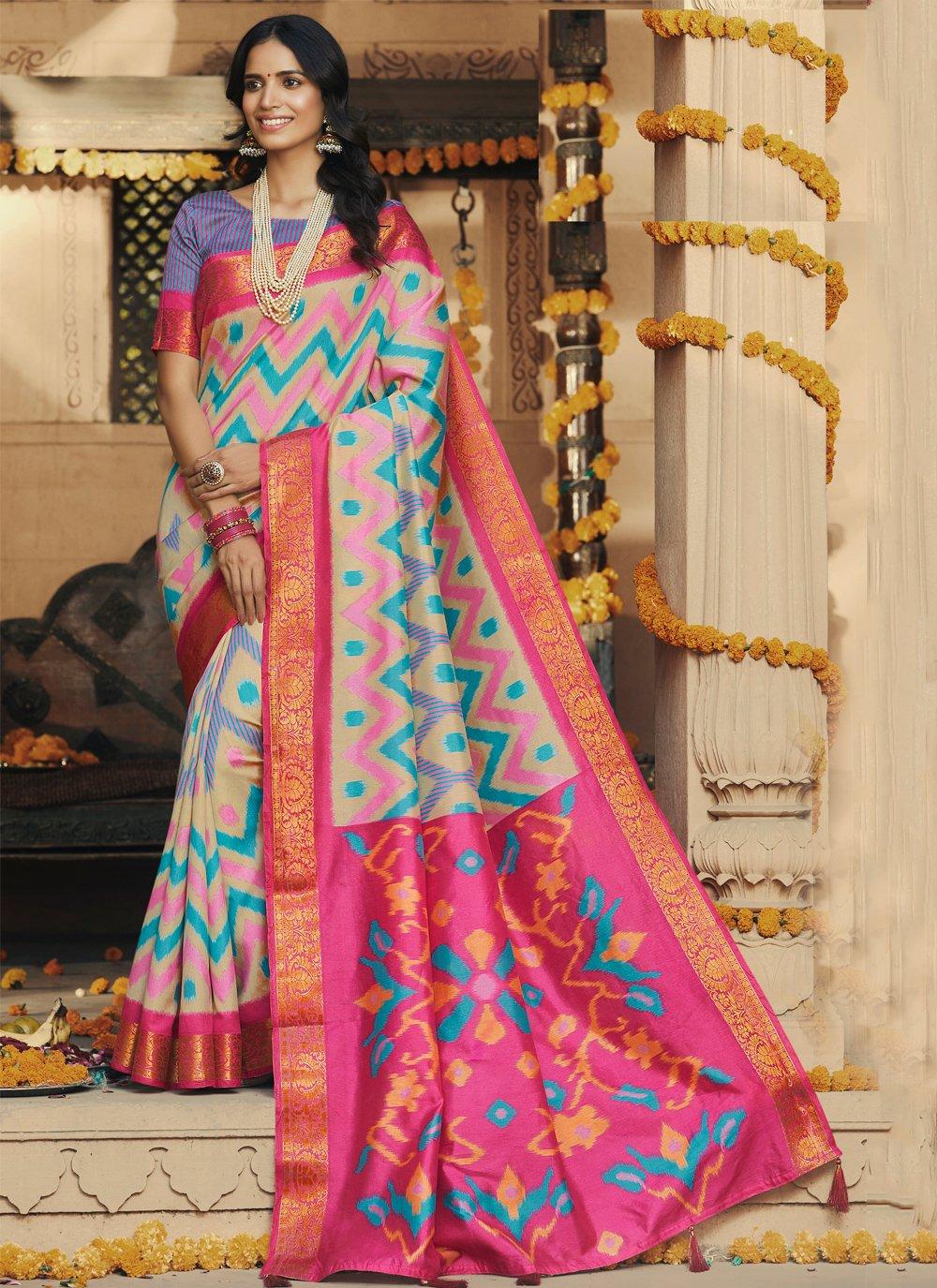 Saree Printed Silk in Multi Colour