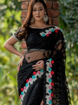 Saree Stone Work Net in Black