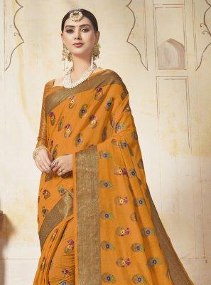 Saree Weaving Art Silk in Mustard