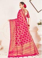 Saree Weaving Banarasi Silk in Pink