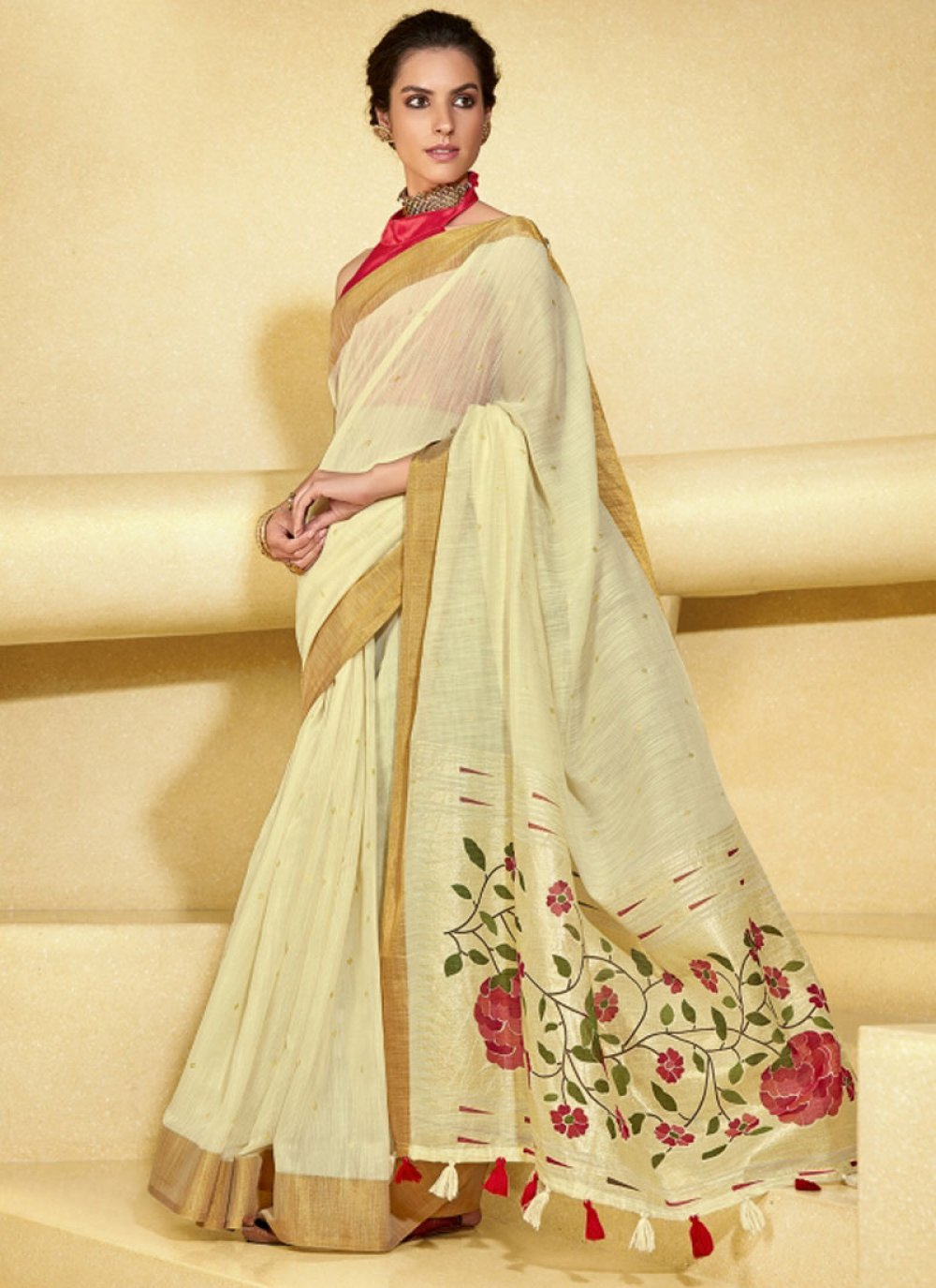 Saree Zari Linen in Beige