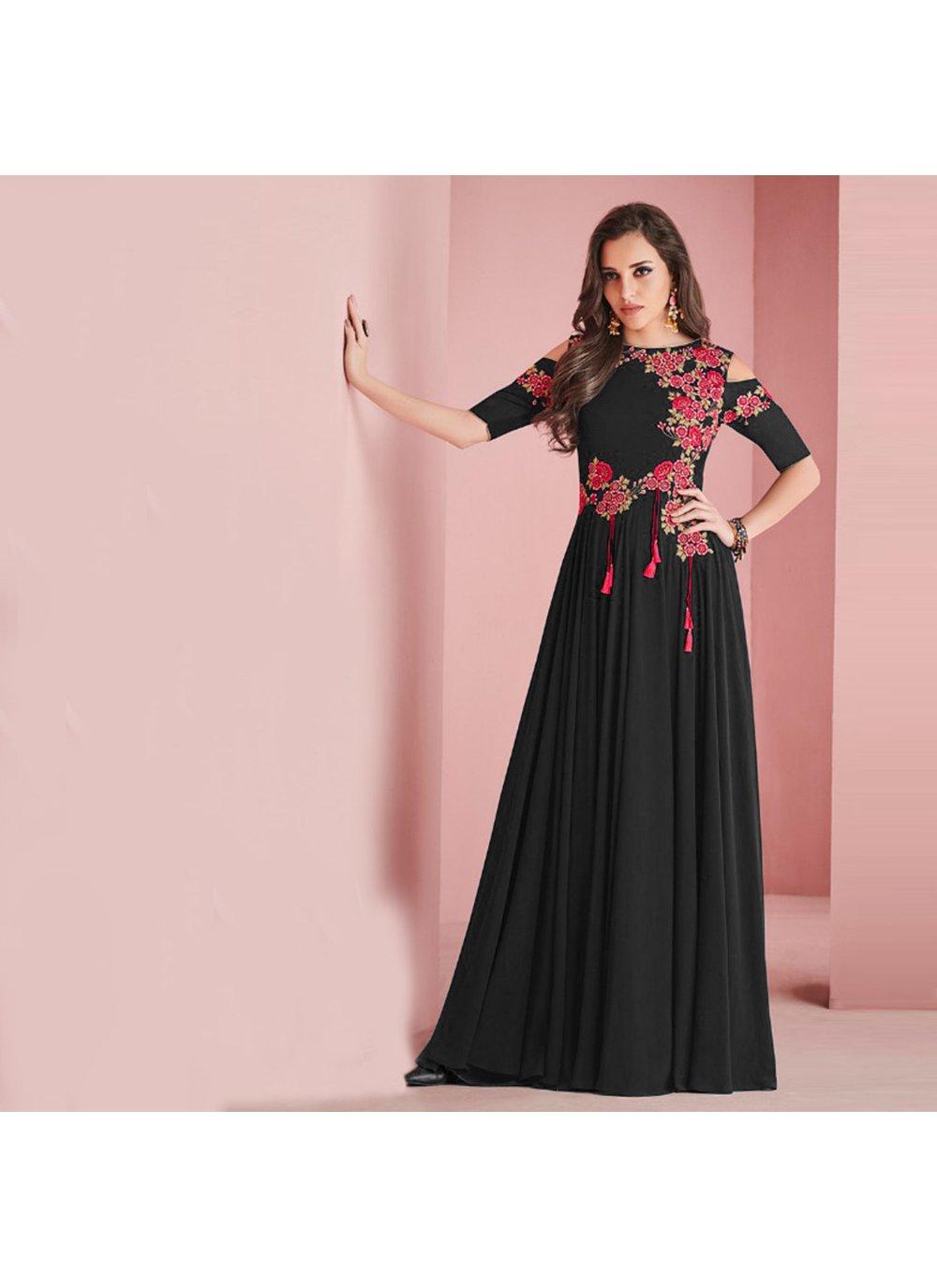 Satin Black Salwar Suit