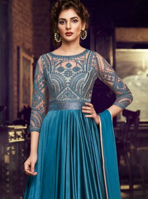 Satin Blue Embroidered Designer Gown