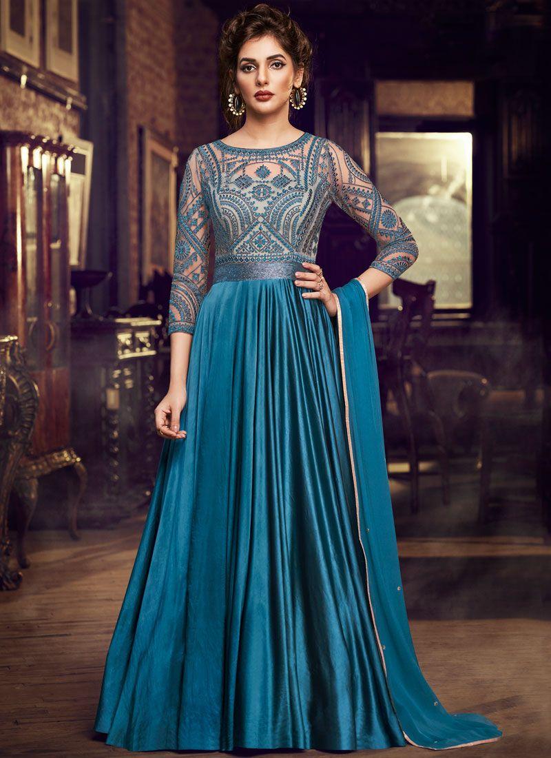 Satin Blue Embroidered Designer Gown